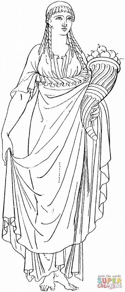 Coloring Greek Ancient Cornucopia Colorare Woman Mythology