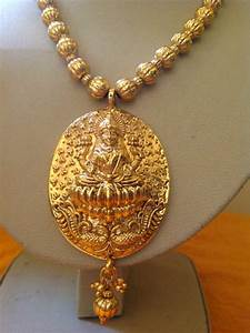 Buy Antique temple jewellery gold laxmi necklaces Online