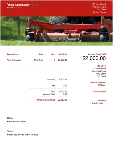 landscaping invoice template