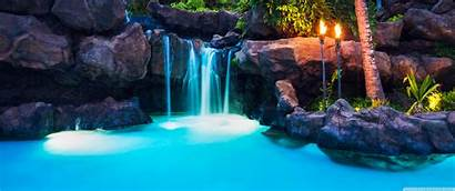 Tropical Resort Waterfalls Hawaii Pool 3440 1440