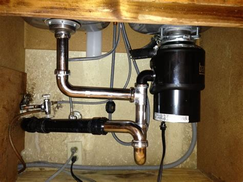 plumbing a kitchen sink with disposal sink drains installed with new disposal bringing 9144