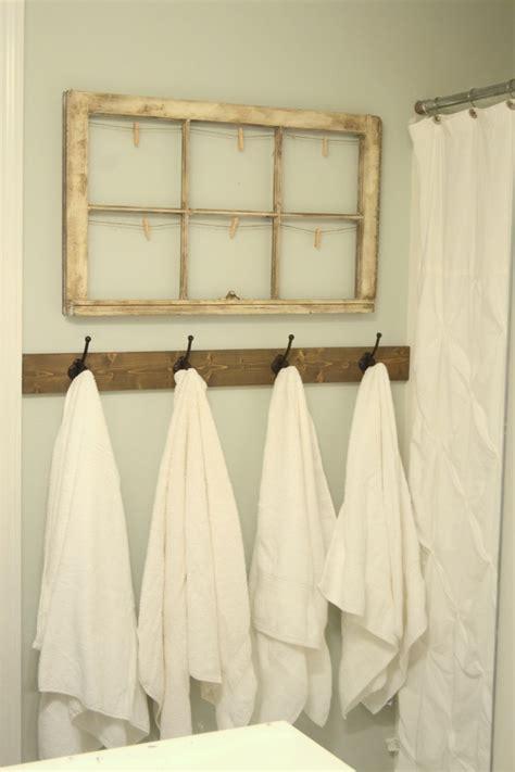 rustic towel hooks  guest bathroom
