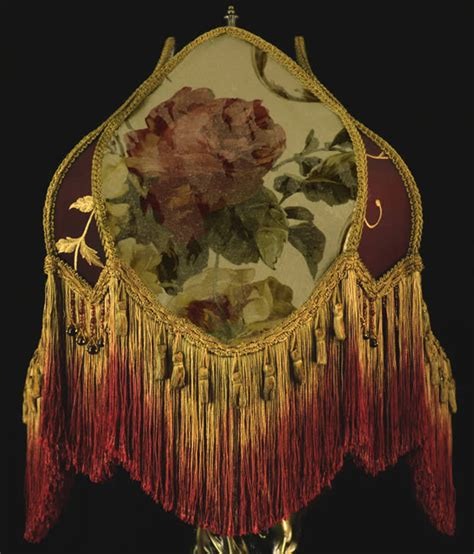 antique l shades with fringe vintage victorian l shade fringed beaded roses wow ebay