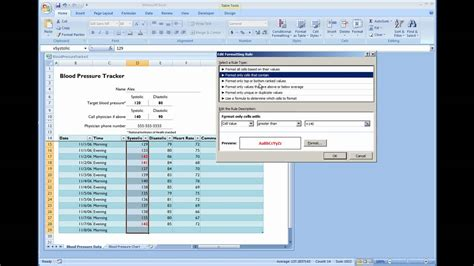 Microsoft Excel - Blood Pressure Tracker Template - YouTube