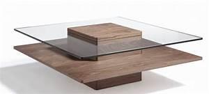 Table Basse Carrée En Verre : table basse carr e bois plaqu noyer et verre tremp hena ~ Teatrodelosmanantiales.com Idées de Décoration
