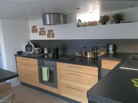 cuisine plan travail bois cuisine bois cuisine bois et plan de travail noir