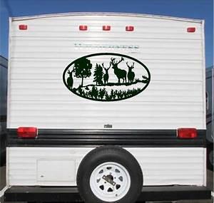 deer landscape camper rv vinyl decal sticker 23x42 camper With vinyl lettering for trailers