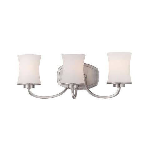 bathroom lighting collections hton bay chaplinne collection 3 light satin nickel