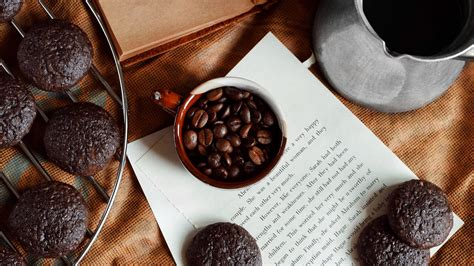 Start your day with coffee. Download wallpaper 1920x1080 coffee, cookies, cup, book full hd, hdtv, fhd, 1080p hd background