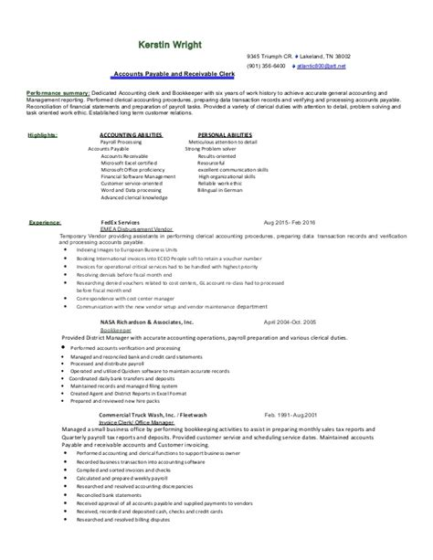 Accounting Resume Exles 2016 by Accounting Resume 2016