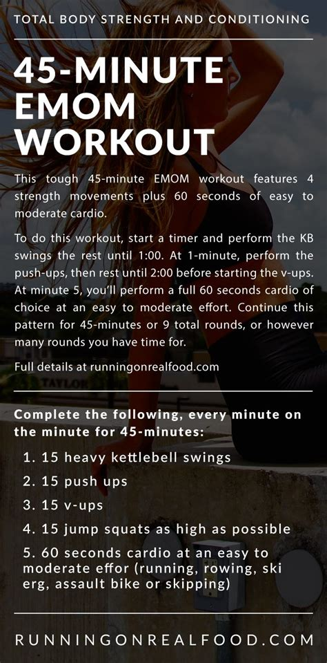 emom workout 45 minute workouts body kettlebell strength crossfit conditioning cardio runningonrealfood ups running food push exercises training barbell weekly