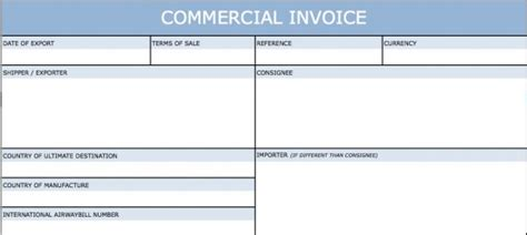 blank international commercial invoice templates