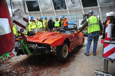 national corvette museum sinkhole cars draw crowd gm