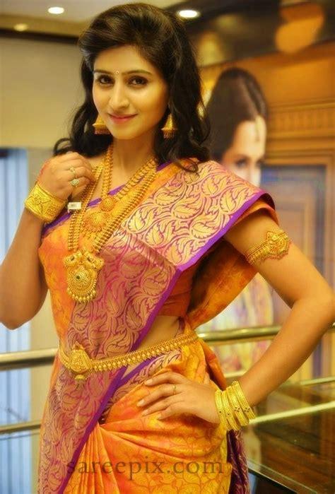 model shamili  traditional silk saree  cmr jewels