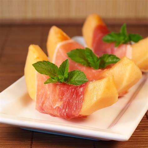 melon prosciutto  mint appetizer succulent munchies