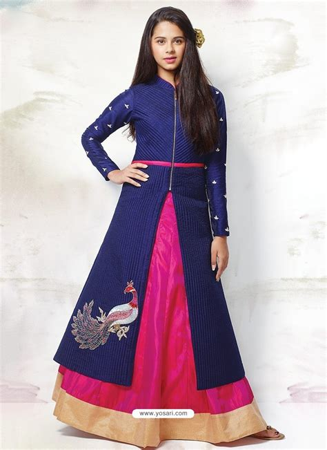 buy gorgeous blue magenta indo western dress