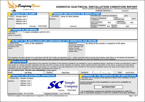Electrical Installation Certificate Template by Easycert Electrical Software Test Inspection