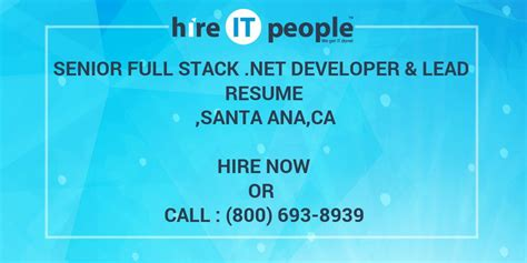 senior full stack net developer lead resume santa ana