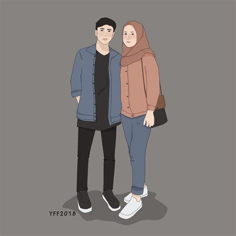 gambar anime pasangan kekasih romantis muslim