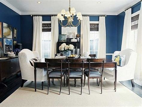 dining room navy blue accent wall  white green