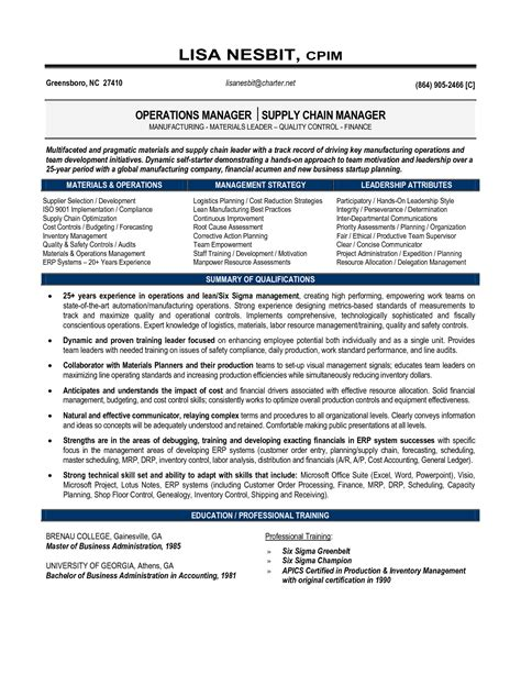 Supply Chain Manager Resume Template by Senior Logistic Management Resume Senior Manager Supply Chain Operations In Greensboro Nc