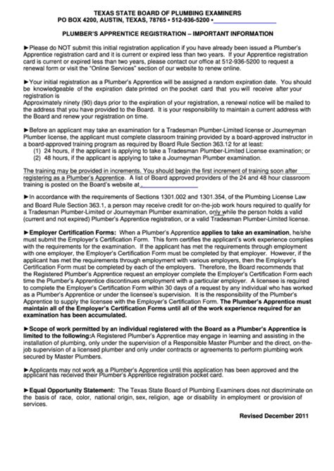 state board of plumbing examiners top apprenticeship application form templates free to