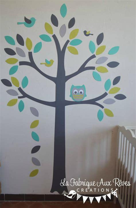 décoration bébé garcon chambre stickers arbre turquoise vert anisle gris hibou oiseaux