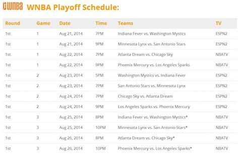 wnba playoff schedule printerfriendly
