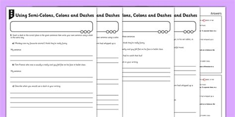 colons  semicolons worksheet  semi colons