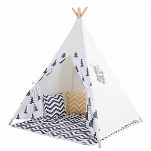 Tipi Pour Enfant : tent tipi pour enfant avec coton textile arbre noir achat vente tente tunnel d 39 activit ~ Teatrodelosmanantiales.com Idées de Décoration