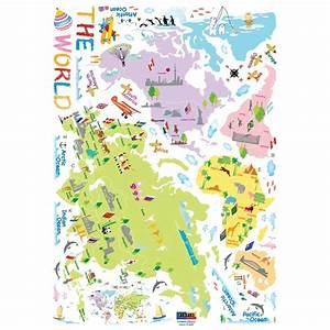 Carte Du Monde Sticker : sticker carte du monde pour enfants pas cher stickers enfants discount stickers muraux ~ Dode.kayakingforconservation.com Idées de Décoration