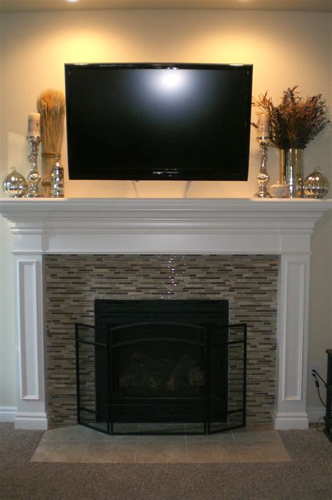 mosaic tile fireplace decorated for fall http