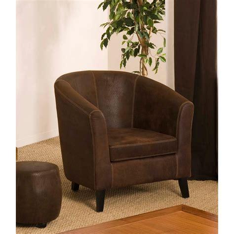 fauteuil cabriolet marron microfibre meubles macabane