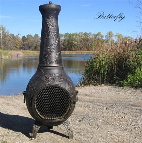 chiminea blue rooster chiminea butterfly cast aluminum outdoor fireplace