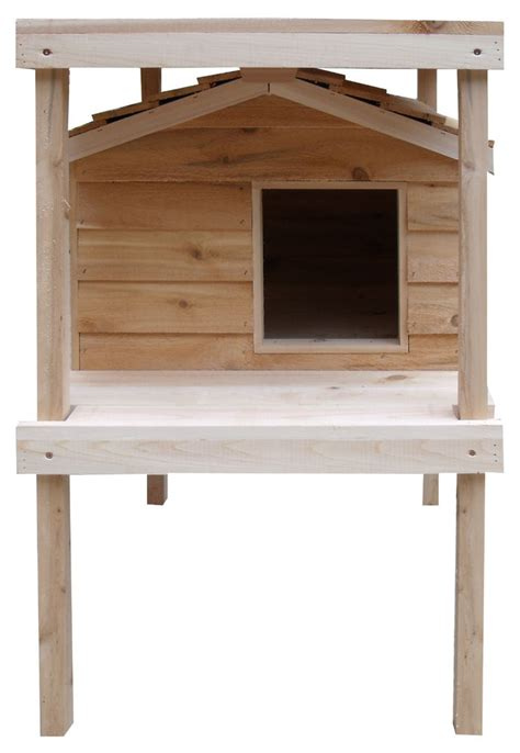 Heated Large Insulated Cedar Outdoor Cat House Wraised