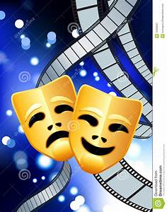 Comedy And Tragedy Masks With Film Reel Background Royalty ...