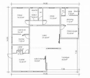 plan maison en u 6 chambres With modele de maison en u 7 dressing