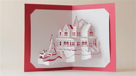 world  dual layers christmas house pop  card youtube