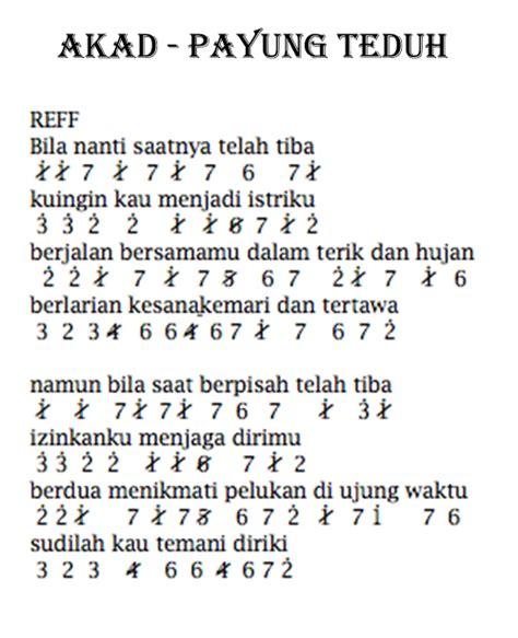 not angka lagu dari mata not angka piano pianika akad payung teduh lirik lagu lengkap