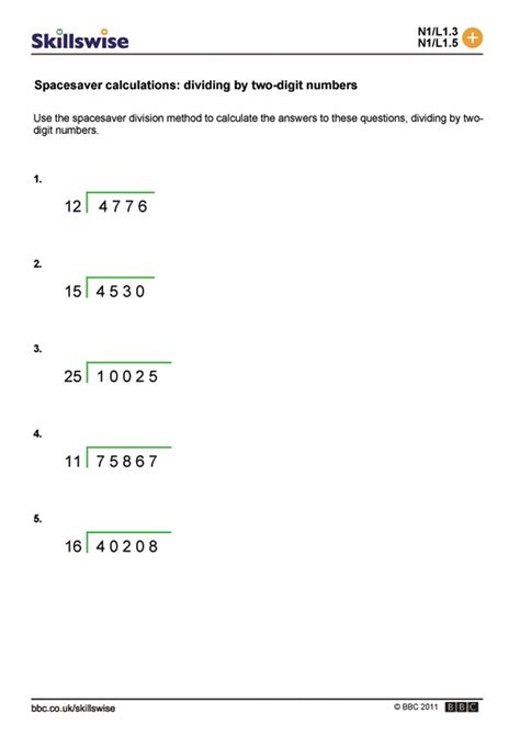 Spacesaver Calculations Dividing By Twodigit Numbers