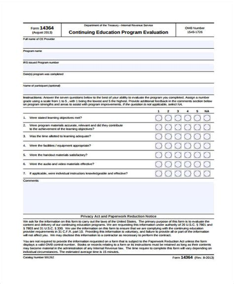 event evaluation forms