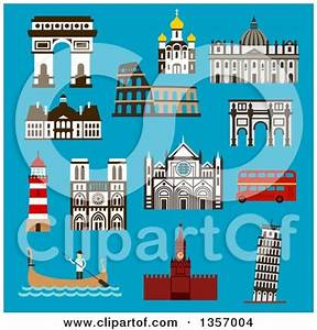 Clipart of Flat Design Architectural Landmarks of Italy ...