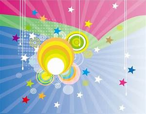 Rays background design colorful circles and stars