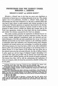 Protections for the Suspect under Miranda v. Arizona 67 ...