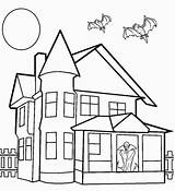 Coloring Haunted Pages Printable Halloween Drawing Spooky Houses Colouring Mansion Sheets Cool2bkids Print Bats Castle Simple Step Interior Creepy Dracula sketch template