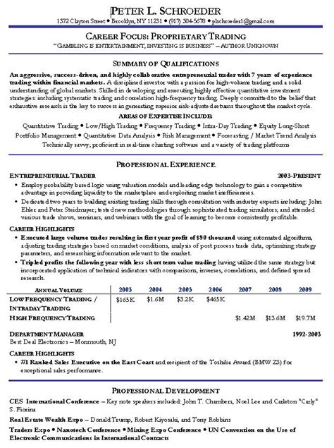 quantitative trading resume exle hedge fund manager