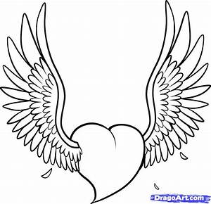 Easy Heart with Wings Drawings