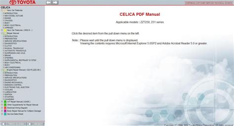 service manuals schematics 2005 toyota celica navigation system toyota celica 1999 2005 service repair information manual
