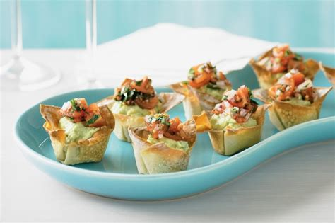 fillings for canapes avocado and cherry tomato salsa wonton cases recipe