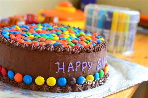 m m gems cake with chocolate buttercream aayis recipes